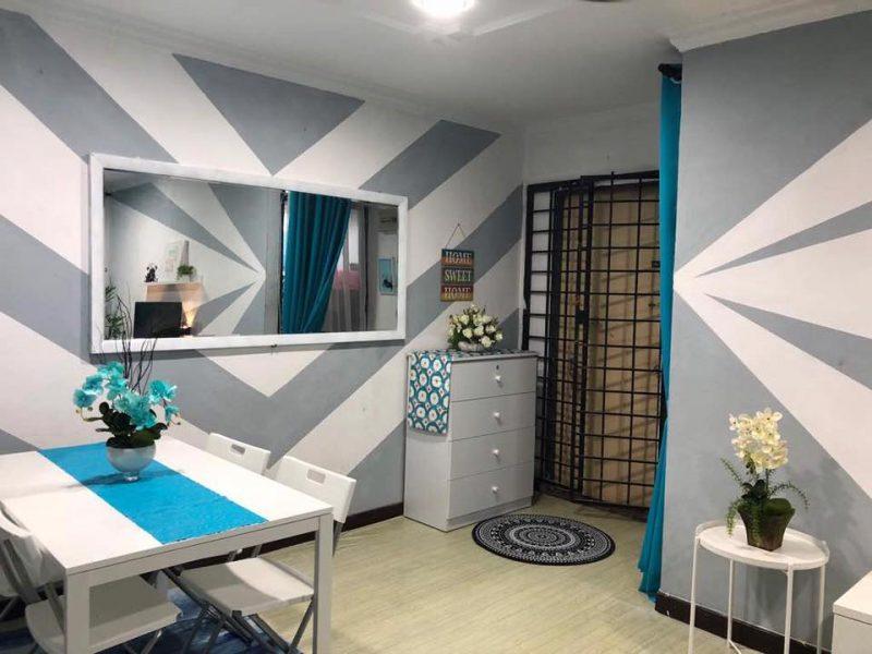 Hanya Guna Cat Hasilkan Corak Geometri Di Dinding, Lihat Transformasi Rumah Flat PKNS Ini! 9