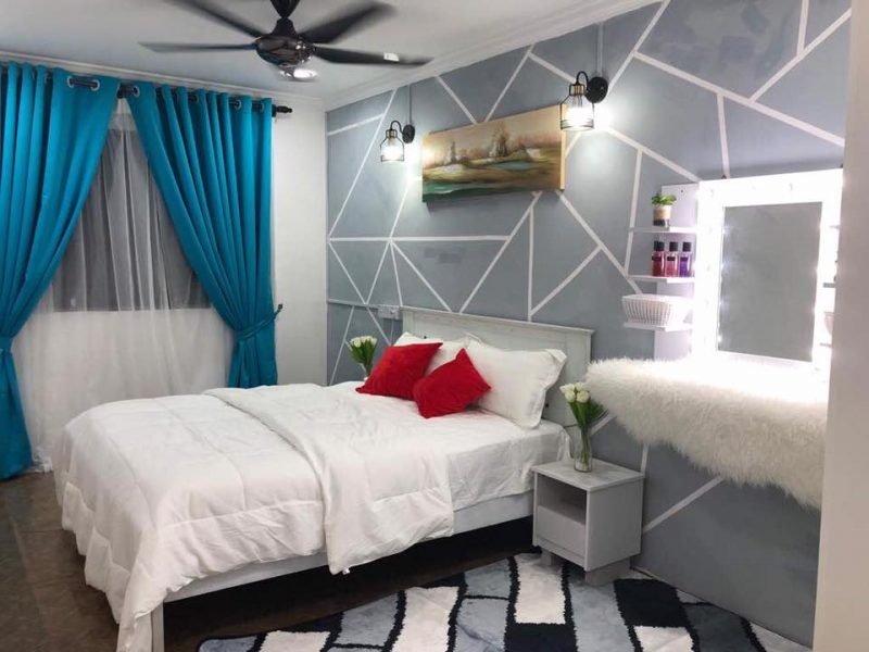 Hanya Guna Cat Hasilkan Corak Geometri Di Dinding, Lihat Transformasi Rumah Flat PKNS Ini! 11