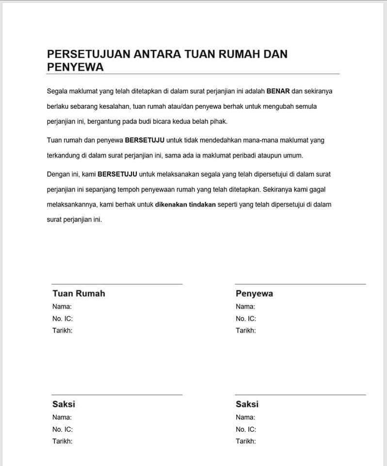 Contoh Perjanjian Sewa Rumah Ringkas Situs Properti Indonesia