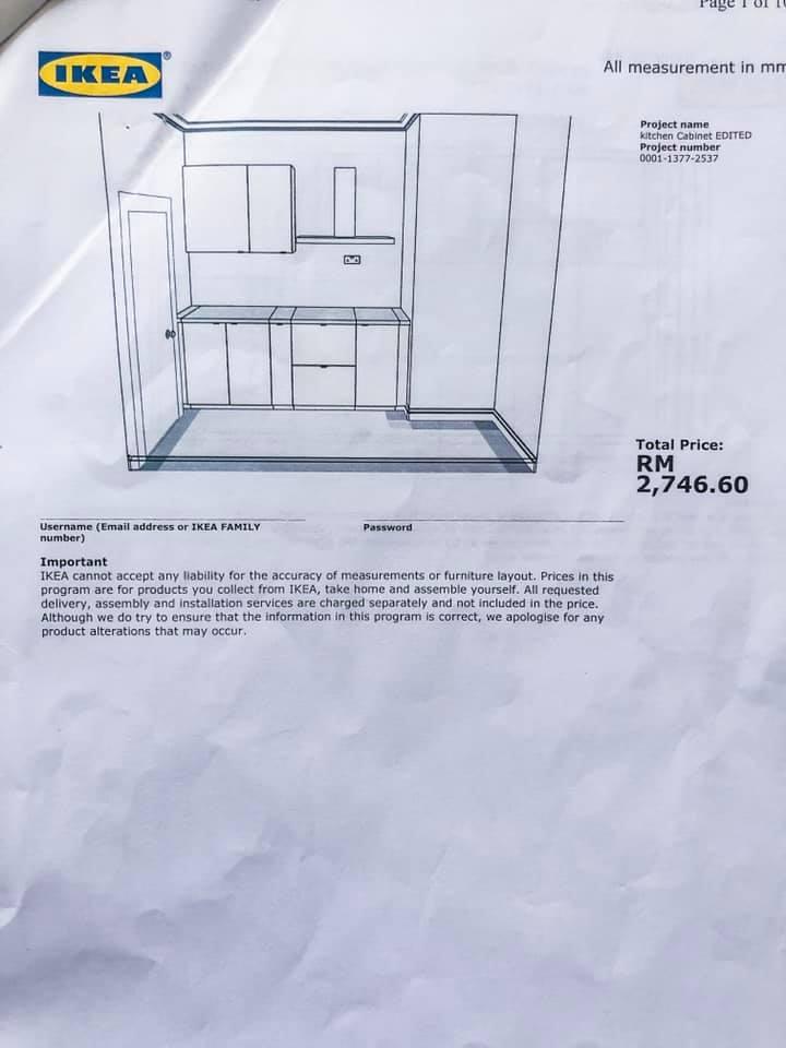 Makeover Sendiri Dapur Sempit 7 Kaki Modal RM 2,746.60 17
