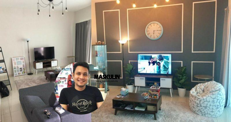 DIY Deko Feature Wall Bajet RM50 Untuk Ruang Tamu, Lelaki Ini Kongsi 5 'Step' Je, Siap!