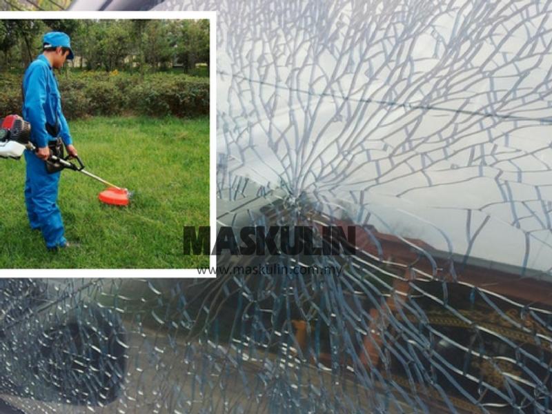 Cermin Kereta Pecah Akibat Terkena Serpihan Batu Si Pemesin Rumput, Jangan Gelabah Ikut Tip Ni.