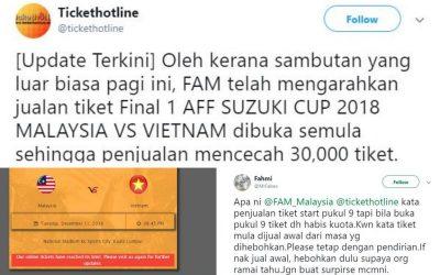Peminat Harimau Malaya Berang Tiket Online Final Piala AFF Dijual Sebelum Jam 9 Pagi