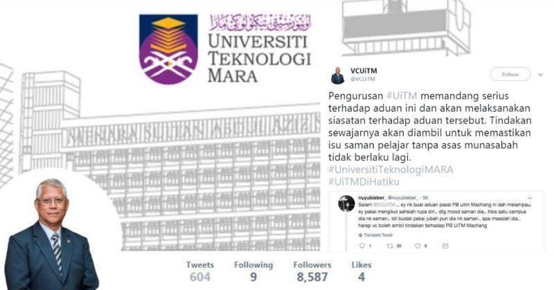 Mahasiswa UiTM Tweet Sebab Kena Saman, Naib Canselor Sendiri Terus Bagi Komen Positif