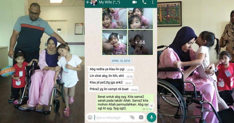 'Lin Tak Larat, Lin Letih, Tolong Jaga Anak-anak'. Mesej Isteri Hidap Kanser Mohon Redha Untuk 'Pergi' Dahulu Sentuh Hati Netizen