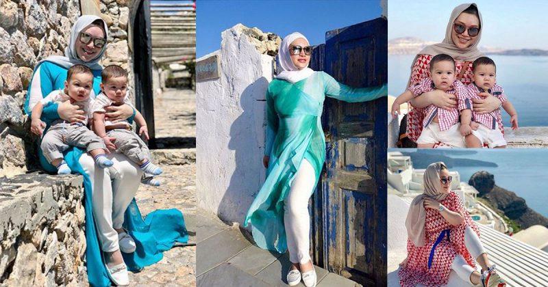 Bawa Anak Kembar Bercuti ke Santorini, Baby Comel Tapi Penampilan Zizie Izzete Lebih Curi Perhatian