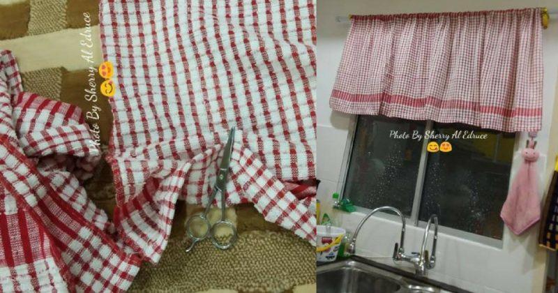 DIY Langsir Dapur Dari Tuala RM 2.12 Sahaja